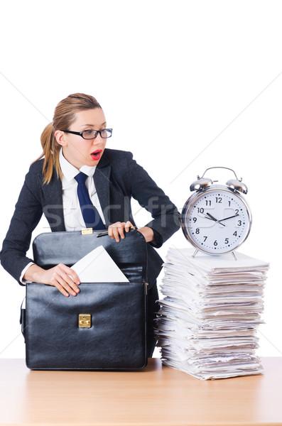 Kobieta kobieta interesu gigant budzik biuro pracy Zdjęcia stock © Elnur