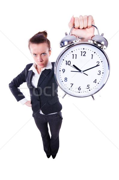 Foto d'archivio: Divertente · donna · clock · bianco · ufficio · lavoro