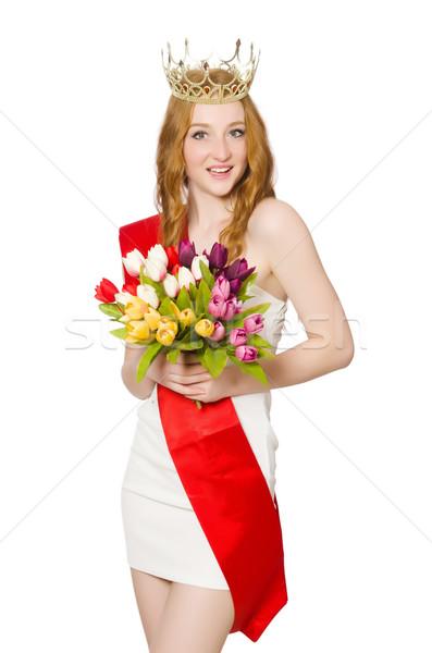 Szépség vetélkedő nyertes izolált fehér virágok Stock fotó © Elnur