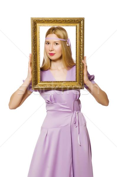 Foto d'archivio: Donna · cornice · bianco · legno · moda · bellezza