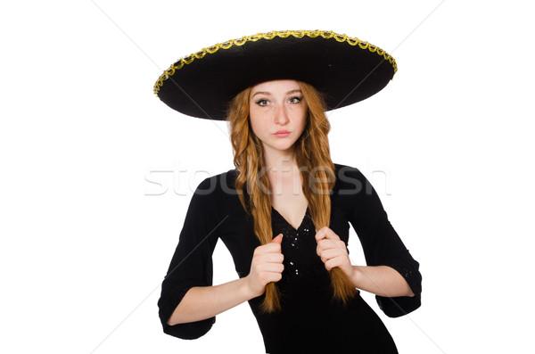 Komik Meksika geniş kenarlı şapka şapka kadın mutluluk Stok fotoğraf © Elnur