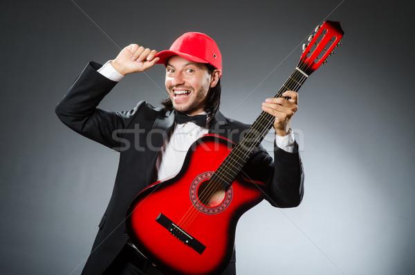 Vicces gitáros stúdió zene buli gitár Stock fotó © Elnur