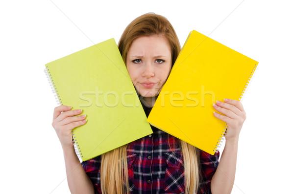 Stockfoto: Jonge · student · geïsoleerd · witte · meisje · boek