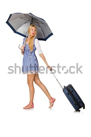 Woman with umbrella isolated on white Stock photo © Elnur