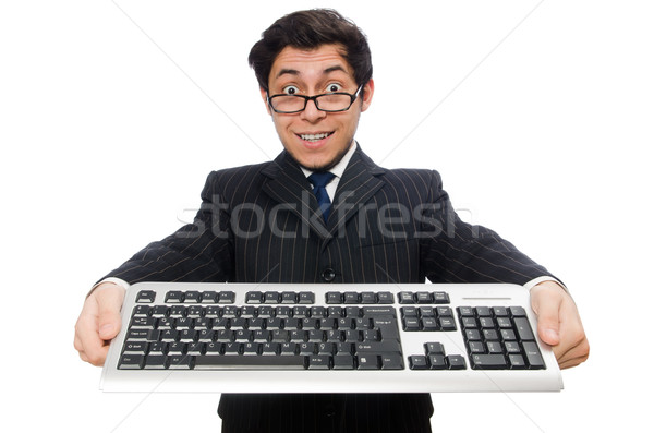 Young employee with keyboard isolated on white Stock photo © Elnur