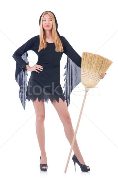 Mulher vassoura branco cabelo casa fundo Foto stock © Elnur