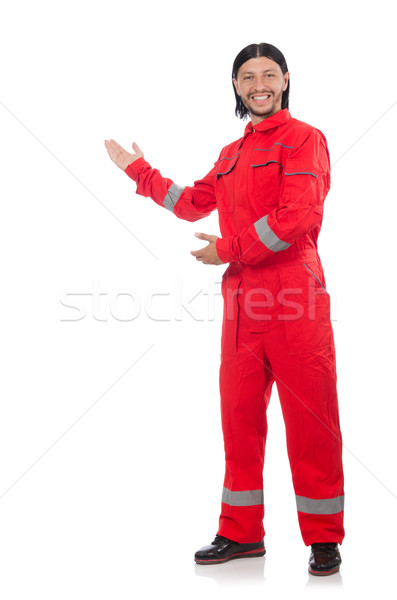Technician in orange overall isolated on white Stock photo © Elnur