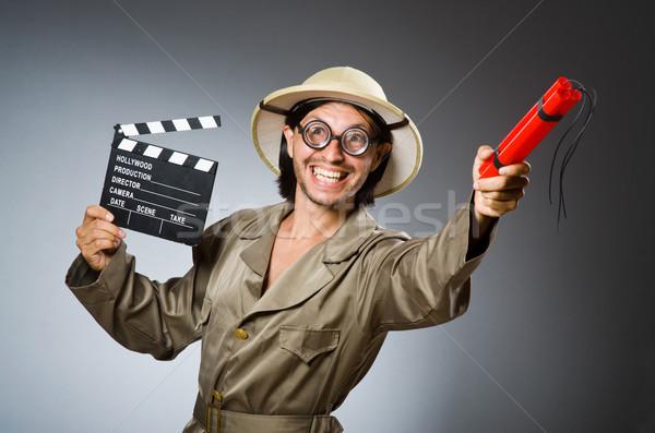 Engraçado safári caçador homem filme vídeo Foto stock © Elnur