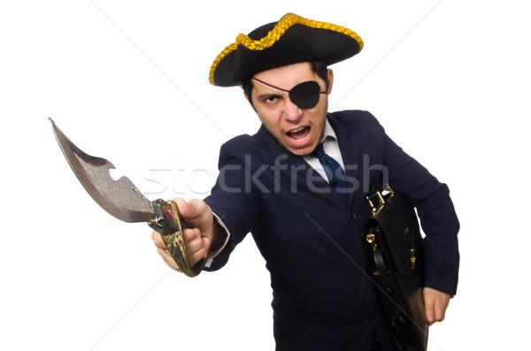 1 海賊 ブリーフケース 剣 孤立した 白 ストックフォト © Elnur