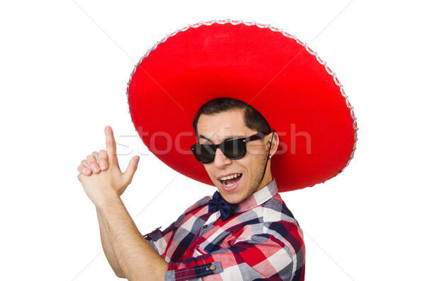 Stok fotoğraf: Komik · Meksika · geniş · kenarlı · şapka · el · mutlu · Retro
