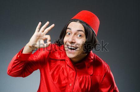 Uomo diavolo rosso costume felice ritratto Foto d'archivio © Elnur