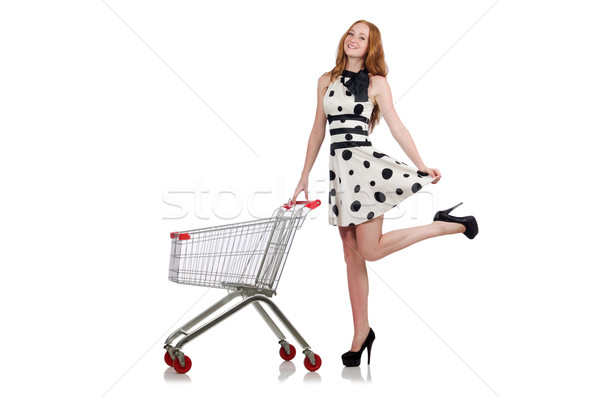 Woman after shopping in the supermarket isolated on white Stock photo © Elnur