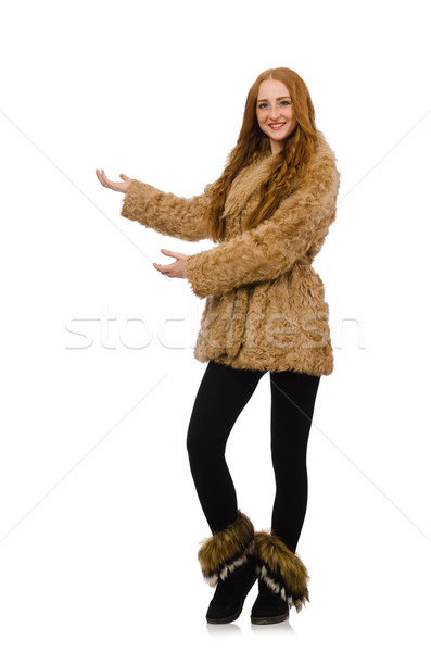 Redhead girl in fur coat isolated on white Stock photo © Elnur