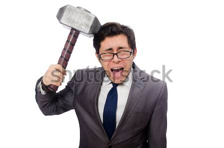 Young businessman with axe isolated on white Stock photo © Elnur
