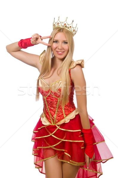 Regina vestito rosso isolato bianco donna suit Foto d'archivio © Elnur