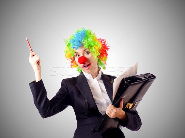 Stockfoto: Vrouw · clown · business · pak · partij · werk