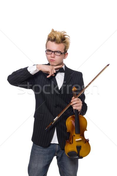 Jóvenes músico violín aislado blanco música Foto stock © Elnur