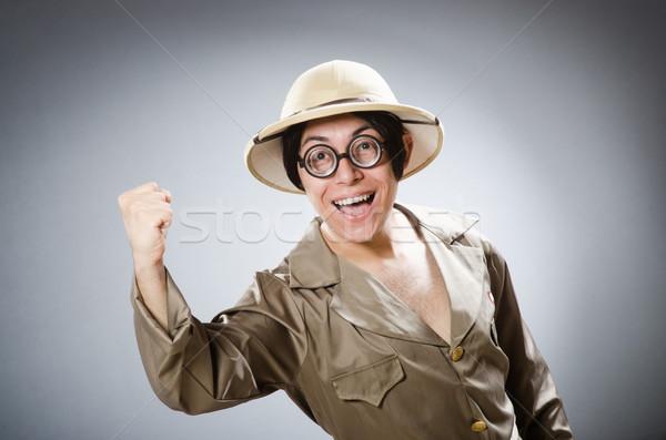 Funny safari traveller in travelling concept Stock photo © Elnur