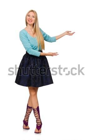 Blond włosy dziewczyna ciemne niebieski spódnica Zdjęcia stock © Elnur