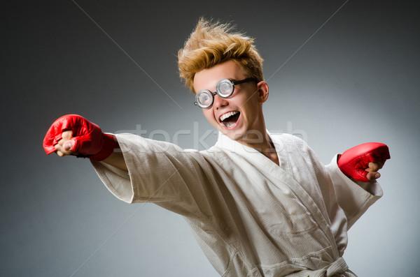 Komik boksör karanlık el arka plan kutu Stok fotoğraf © Elnur