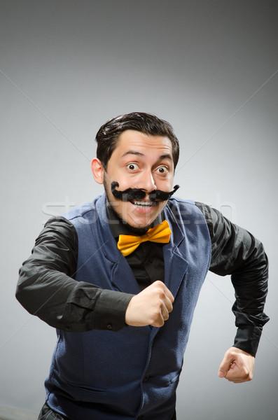Funny hombre oscuro trabajo empresario ejecutando Foto stock © Elnur