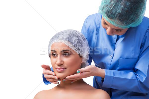 Chirurgia plastica isolato bianco ragazza mani Foto d'archivio © Elnur