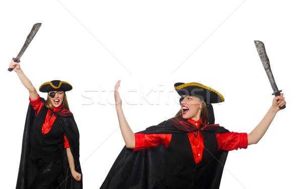 Stockfoto: Vrouw · piraat · witte · partij