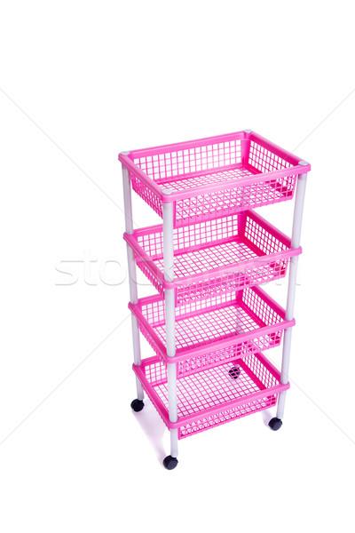 Rosa rack shelf ruote isolato Foto d'archivio © Elnur