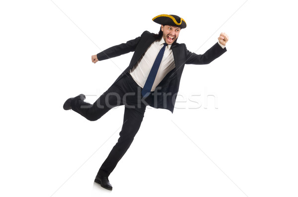 Running businessman wearing tricorn isolated on white Stock photo © Elnur