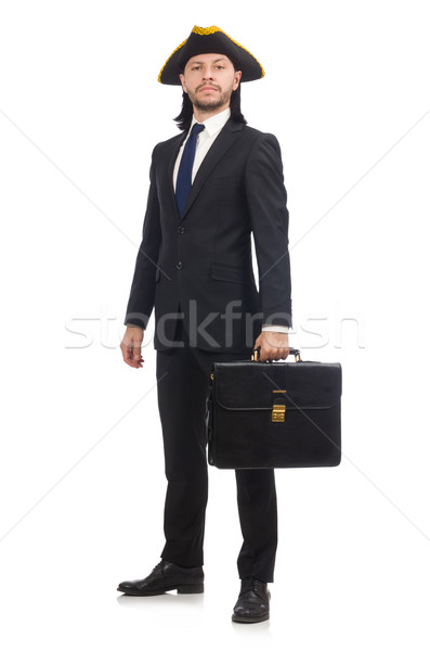 Businessman with tricorn and briefcase isolated on white Stock photo © Elnur