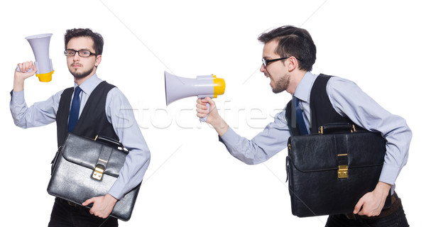 Collage of young businessman with loudspeaker on white Stock photo © Elnur