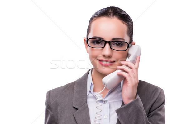 Nice elegant call center operator isolated on white Stock photo © Elnur
