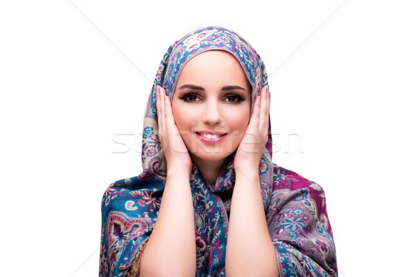 Muszlim nő divat izolált fehér háttér Stock fotó © Elnur