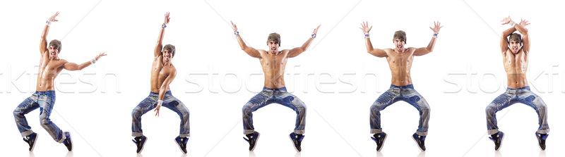 Tancerz taniec odizolowany biały nude człowiek Zdjęcia stock © Elnur