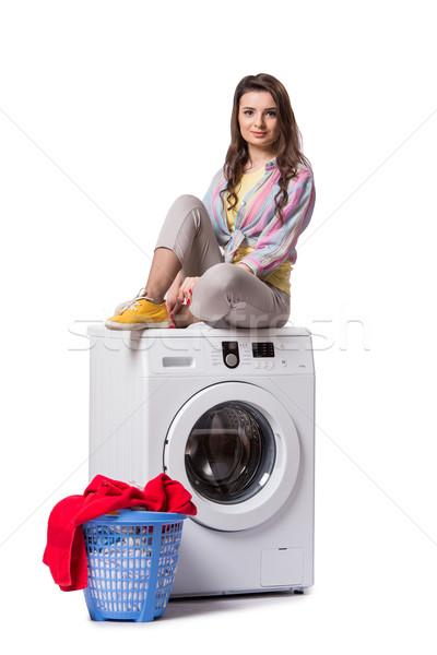 Kadın yorgun çamaşırhane yalıtılmış beyaz ev Stok fotoğraf © Elnur