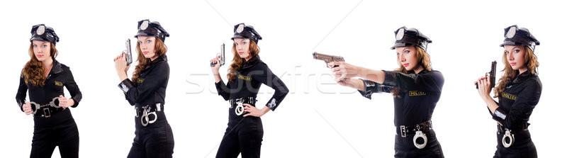 Foto d'archivio: Donna · polizia · manette · bianco · sicurezza · gun