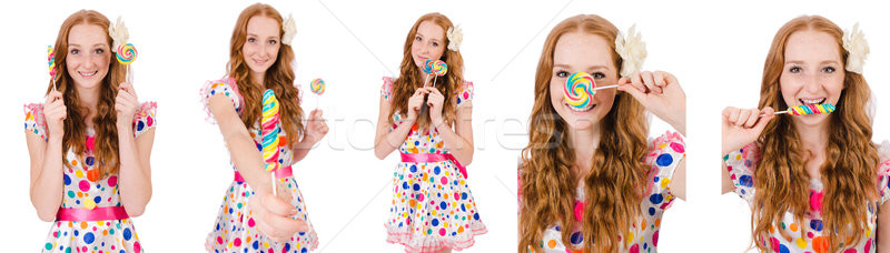 Pretty girl with lollypops isolated on white Stock photo © Elnur