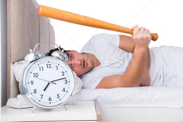 Homme lit souffrance insomnie horloge baseball Photo stock © Elnur