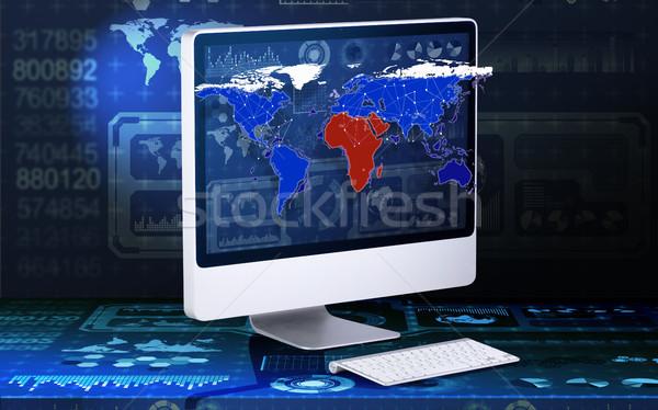 экране компьютера бизнеса мира Мир технологий земле Сток-фото © Elnur