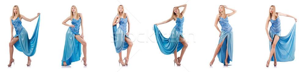 Mujer atractiva azul vestido blanco mujer moda Foto stock © Elnur