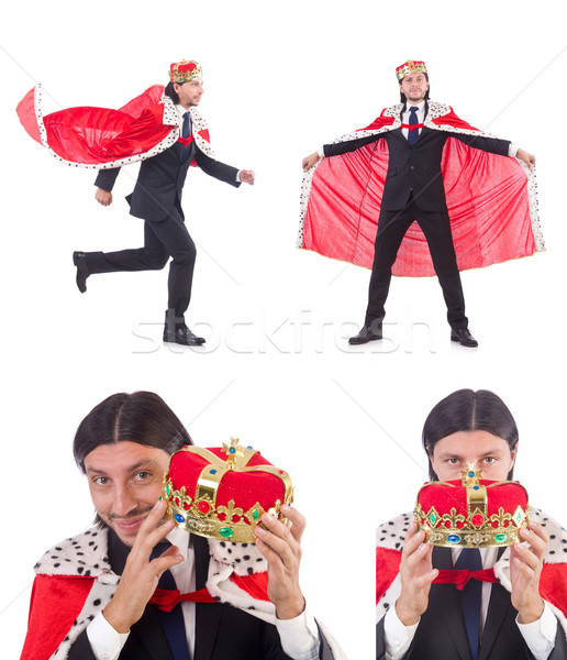 Rey empresario aislado blanco hombre traje Foto stock © Elnur