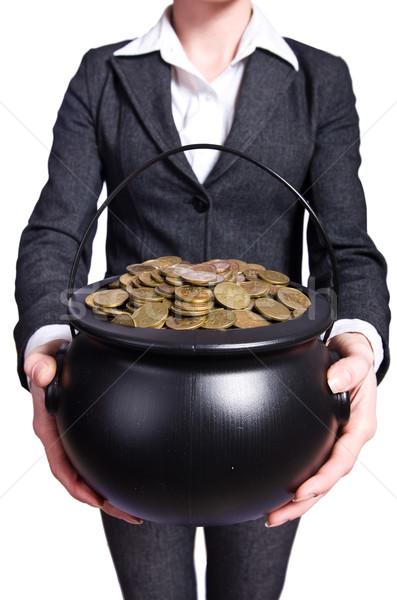 Vrouw pot gouden munten business winkelen Stockfoto © Elnur