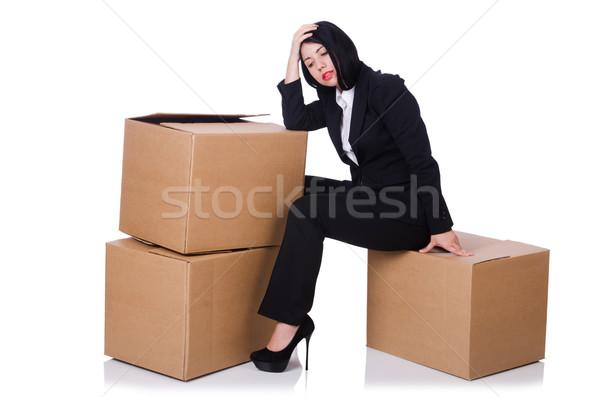 Mujer cajas blanco negocios sonrisa feliz Foto stock © Elnur