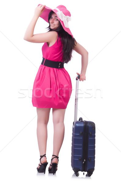 Fiatal lány rózsaszín ruha utazás lány boldog Stock fotó © Elnur