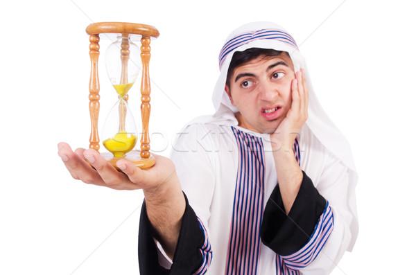 Arab férfi gondolkodik átjáró idő óra Stock fotó © Elnur
