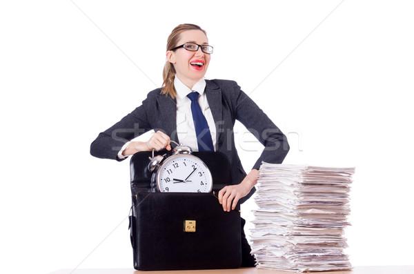 Foto stock: Mulher · empresária · relógio · documentos · escritório · trabalhar