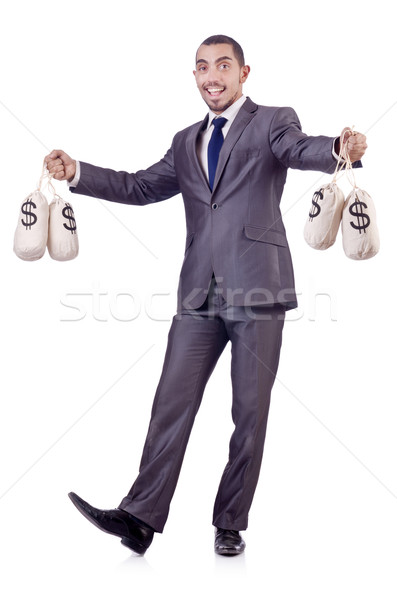 Man with sacks of money on white Stock photo © Elnur