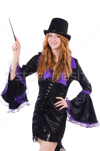 女性 マジシャン 孤立した 白 手 笑顔 ストックフォト © Elnur