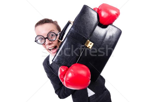 Foto stock: Mujer · de · negocios · boxeo · blanco · negocios · oficina · trabajo