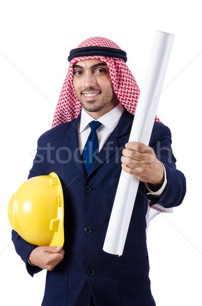 Arab mérnök rajzok fehér üzlet papír Stock fotó © Elnur